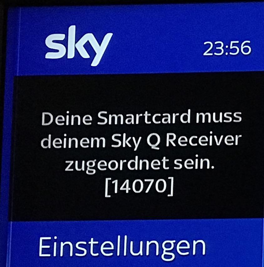 Deine Smartcard Muss Deinem Sky Q Receiver Zugeordnet Sein