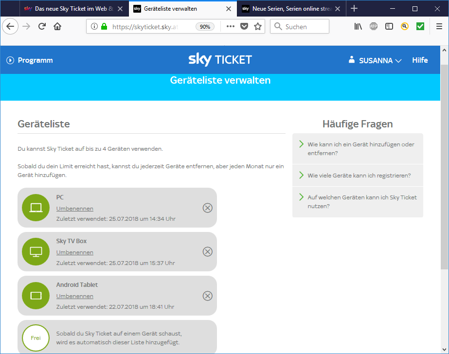 sky ticket geräteliste zurücksetzen