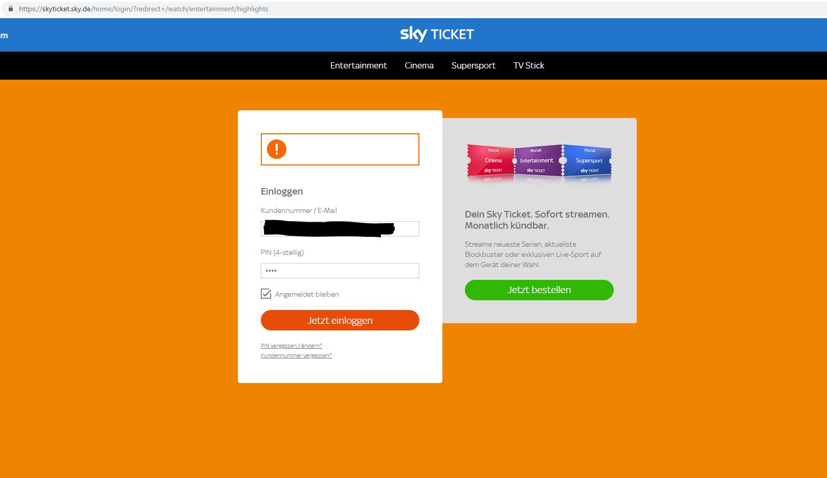 Sky Ticket Einloggen
