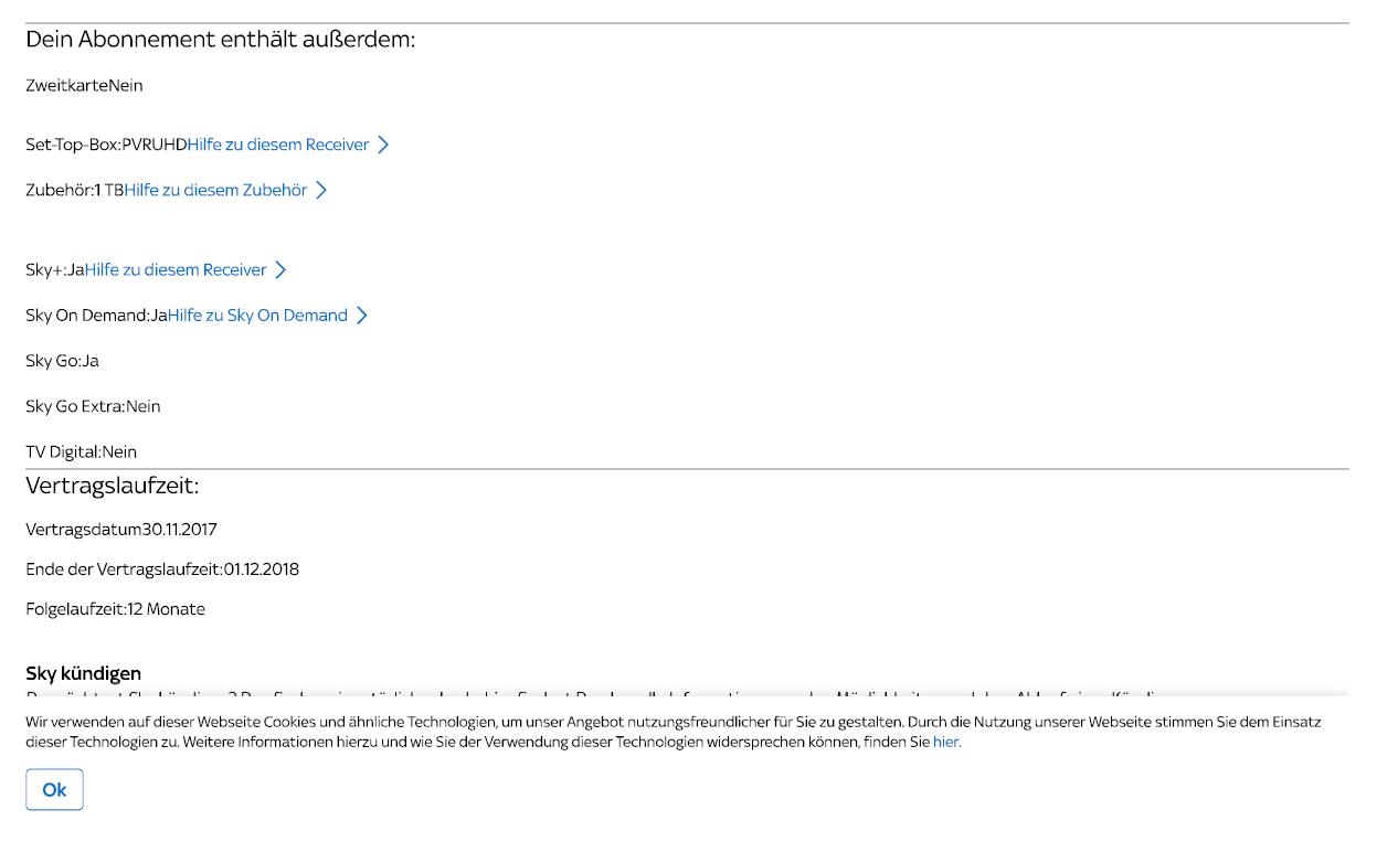 sky kündigen per email