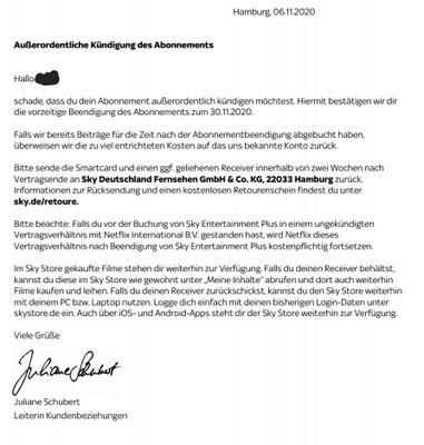 Sky Preiserhöhung Sonderkündigungsrecht