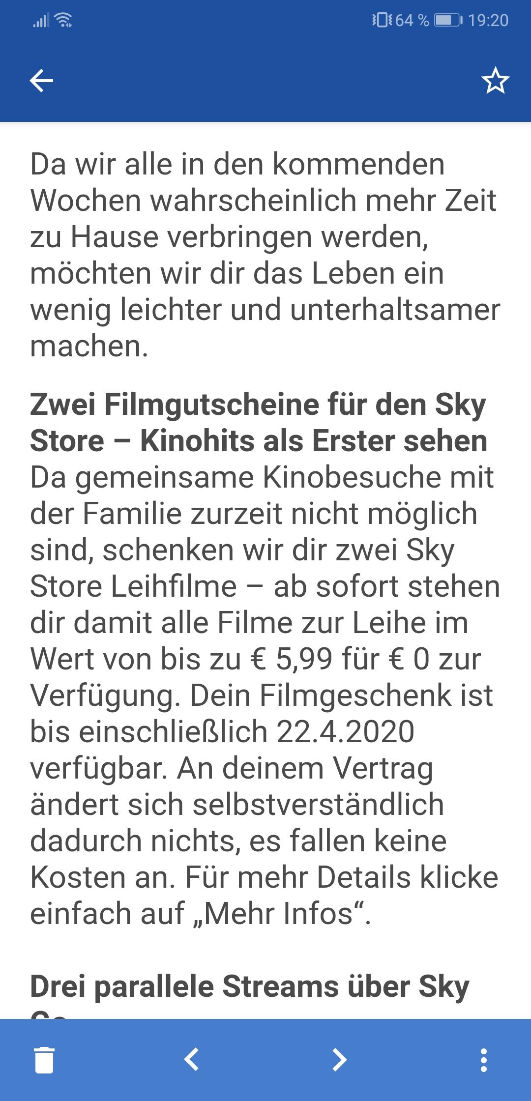 Sky Rechnung Online