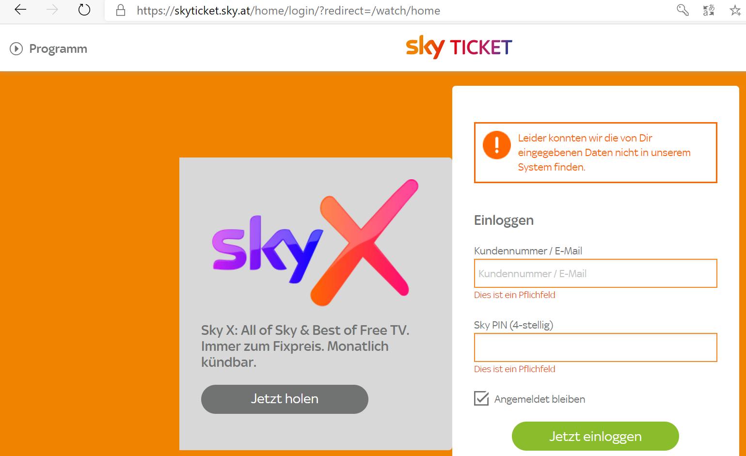 Sky Ticket Login